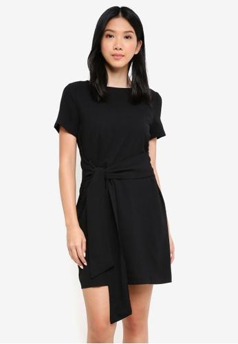 ZALORA BASICS black Tie Front Dress 5EE14AAAA8B1DDGS_1