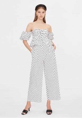 Pomelo white Off Shoulder Polka Dot Top - White CB341AAA1F06ECGS_1