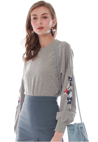 JOVET grey Embroidered Pullover JO914AA0GOYYSG_1