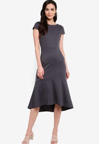 ZALORA WORK grey Scoop Back Midi Dress D6EC1AA6DBC9EAGS_1