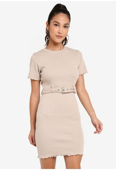 4000c526d486 MISSGUIDED beige Ribbed Belted Short Sleeve Mini Dress 9DB60AA9093EE5GS_1