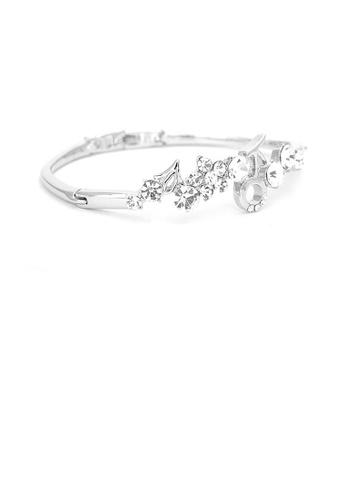 Glamorousky silver Elegant Flower Bangle with Silver Austrian Element Crystals B7CC0ACAA739D1GS_1