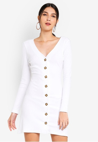 MISSGUIDED white Ribbed Horn Button Ls Aline Dress 945B5AAB5DD329GS_1