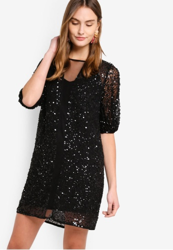 French Connection black Diana Sequin Puff Sleeve Dress 720FBAA375C46BGS_1