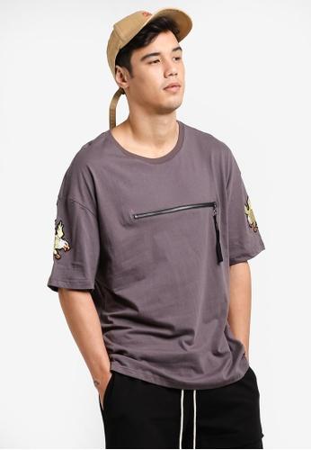 Flesh IMP grey Dual Zip Ovesized Box Cut T-Shirt FL064AA78WZDMY_1
