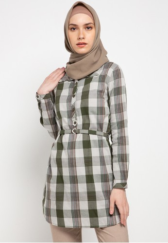 Expand green Humeera Blouse With Plaid Material Buckles 4C5CEAAFDA92B4GS_1