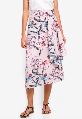 bYSI pink Floral Ribbon Tie Midi Skirt D4307AA232750BGS_1