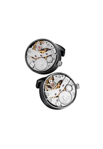 Kings Collection black Black Movement Watch Cufflinks F6AD2AC8907BD5GS_1