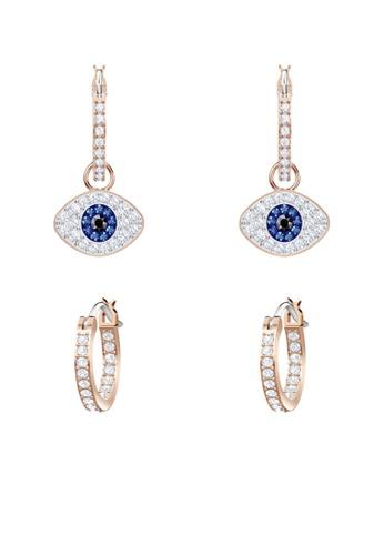 Swarovski gold Duo Evil Eye Pierced Earrings CF1DFAC05627B5GS_1