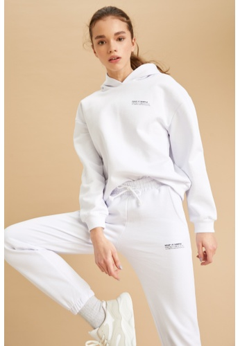 DeFacto white Long Sleeve Cotton Hoodie 90172AA77417A3GS_1