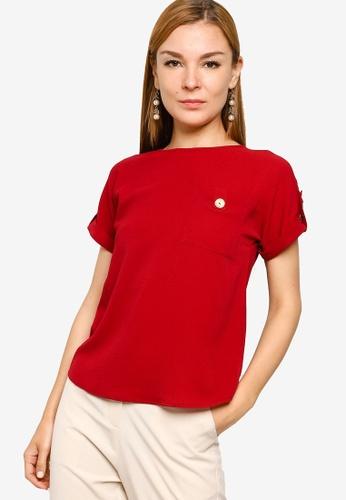ZALORA WORK 紅色 Pocket Detail Top DC9CDAA63D26EEGS_1