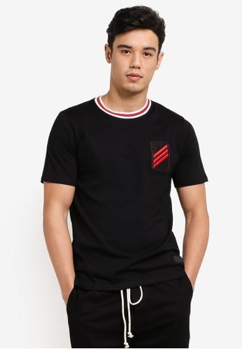 Flesh IMP 黑色 Patched Badges Long Oversized T-Shirt FL064AA75WZGMY_1