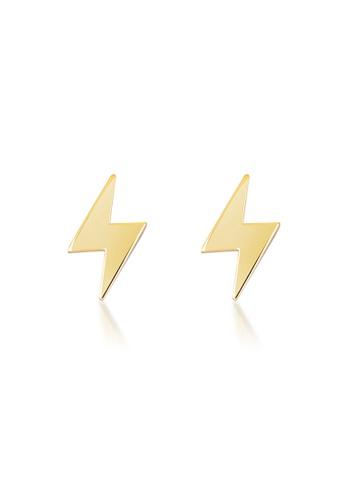 Au Revoir Les Filles Lumiere Lightning Bolt Gold Ear Studs