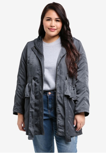 LOST INK PLUS grey Plus Size Parka With Grossgrain Belt 26B73AA1780830GS_1