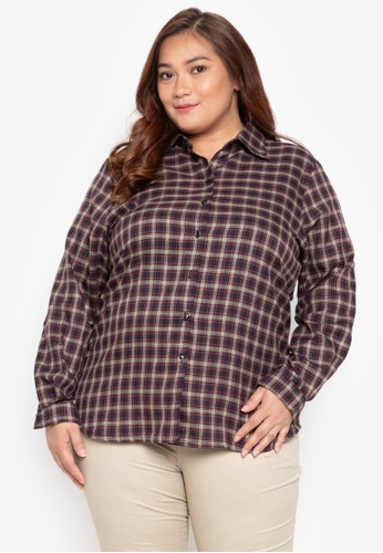 495bbaa5394 Multiples red Plus Size Pamela Checkered Plus Size Quarter Sleeves Blouse  5C36DAAE69C0CCGS 1