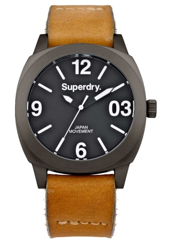 Superdry Thor Midi Black And Brown Leather Watch