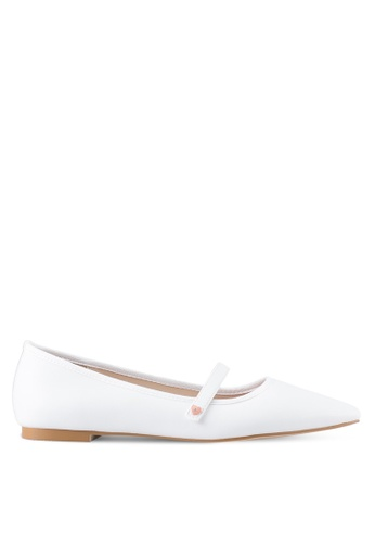 Velvet white Mary Jane Pointed Flats 628A7SHD2FA3A8GS_1