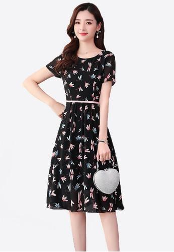 Halo black Floral Printed Chiffon Dress C7EFAAA744ABAEGS_1