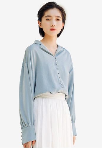 Shopsfashion blue Button Up Shirt 5A68DAA2AA4F8FGS_1