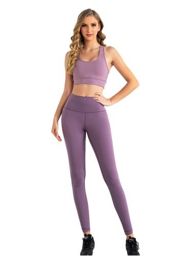 B-Code purple ZUU3006-Lady Quick Drying Running Fitness Yoga Leggings-Purple 5D1A8AA4685BB7GS_1