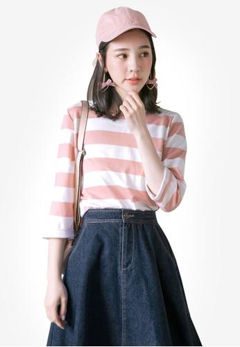 Tokichoi pink and multi Striped Oversized Top E62E0AAD837E38GS_1
