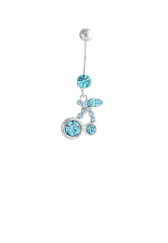Glamorousky blue Cherry Belly Ring with Sky Blue Austrian Element Crystals D6D86AC0F3EFB7GS_1