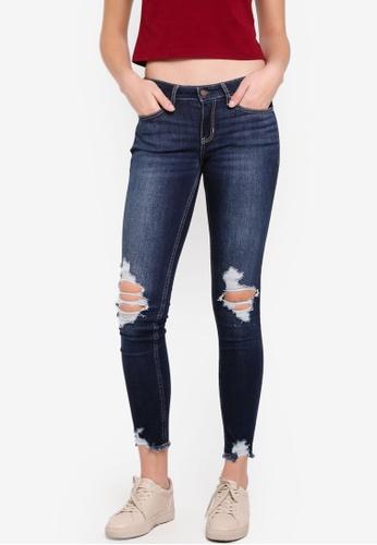 Hollister blue Knee Destroy Fray Jeans C45E9AA80AB3FCGS_1