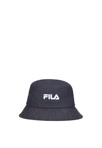 FILA navy Korea Collection Unisex FILA Logo Cotton Bucket Hat 3161FAC4AA8C0DGS_1