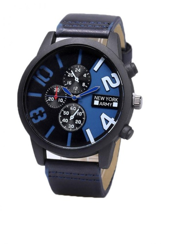 Greatvalueplus blue Gauthier Men's Analog Leather Watch NYA320 A227CACC418545GS_1