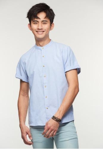 DRUM blue Mandarin Collar Short Sleeve Shirt - Blue 5AA87AAD05951CGS_1