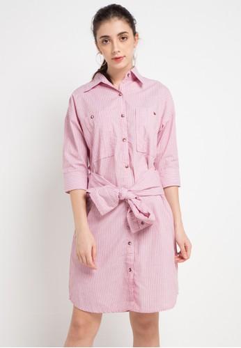Miyoshi Josei pink and multi 090Aj Stripe Woven Dress Belt Sleeve & Two Front Oversize Pocket 19992AA702B27BGS_1