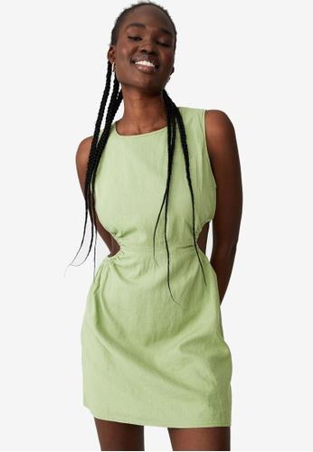 Cotton On green Woven Hayden Cutouts Mini Dress C888BAAA242296GS_1