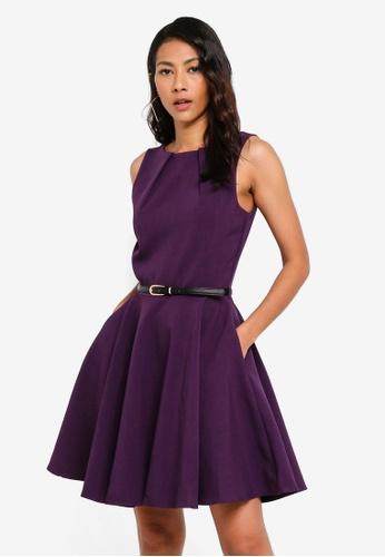 CLOSET purple Skater Belted Dress 971ECAA3B56223GS_1