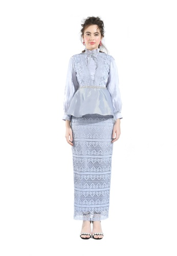 Hernani grey and blue Clary Ice Peplum Blouse with Lace Skirt A77CBAA2DE26BEGS_1