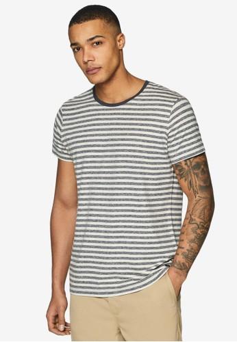 ESPRIT navy Striped Jersey T-Shirt E7608AA0BA6208GS_1