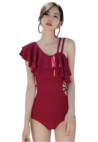 A-IN GIRLS red Sexy Lotus Shoulder One-Piece Swimsuit 56003US46DECE5GS_1