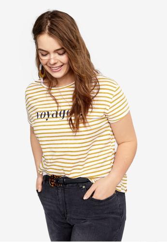 10369ccb516e90 Violeta by MANGO beige Plus Size Striped Cotton T-Shirt 094CAAA9B80E81GS_1