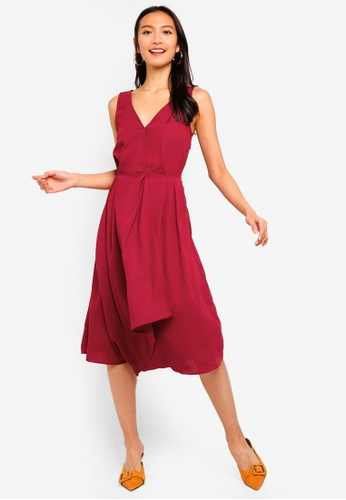 ZALORA red Pleat Details Midi Dress 1679AAA82975ECGS_1