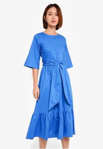 CLOSET blue Tie Front Gathered Hem Midi Dress 70521AA7C36BA8GS_1