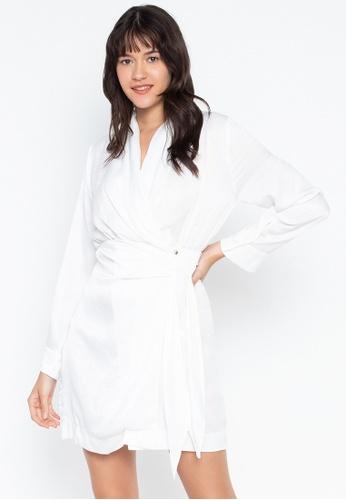 the___edit white Chloe Wrap Dress 21AEFAA31CEEEBGS_1