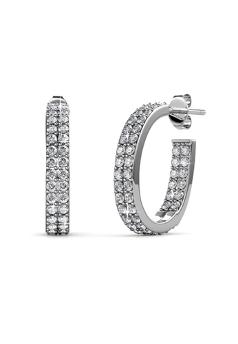 Her Jewellery silver Luxx Hoop Earrings -  Made with premium grade crystals from Austria HE210AC0FSU1SG_1
