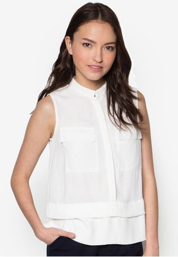 層次雙口袋無袖襯衫esprit hk store, 服飾, 上衣