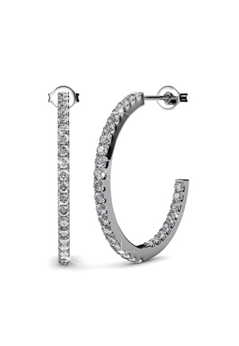 Her Jewellery silver Swarovski® Crystals - Simply Hoop Earrings (18K White Gold Plated) Her Jewellery HE581AC0RADSMY_1