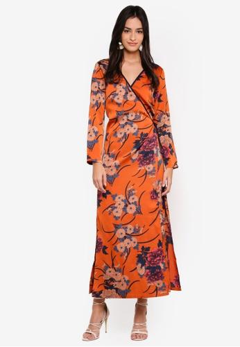 ZALORA orange and multi Midi Wrap Dress 4C99BAAD79B5FBGS_1