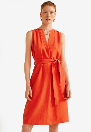Mango orange V-Neckline Dress 86B53AA68DAD37GS_1