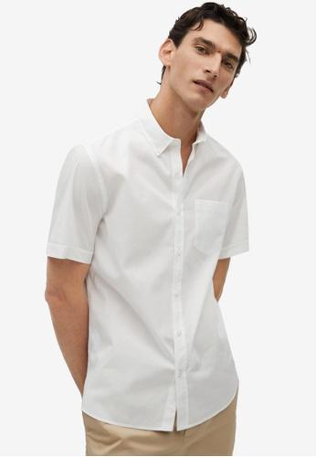 Mango Man white Regular Fit Cotton Shirt A020BAA6A4FB22GS_1