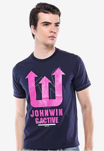 Johnwin blue Johnwin - Slim Fit - Kaos Bergambar - Biru Navy - Johnwin Active. 5F73BAA25EFEEAGS_1