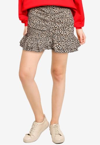 TOPSHOP multi Animal Print Ruched Stretch Mini Skirt 37435AA4AB636BGS_1