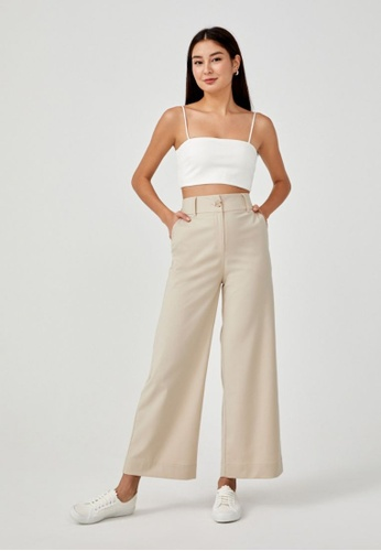 Love, Bonito beige Bethanie Tailored Wide Leg Pants 3BCA7AA6D46F5AGS_1