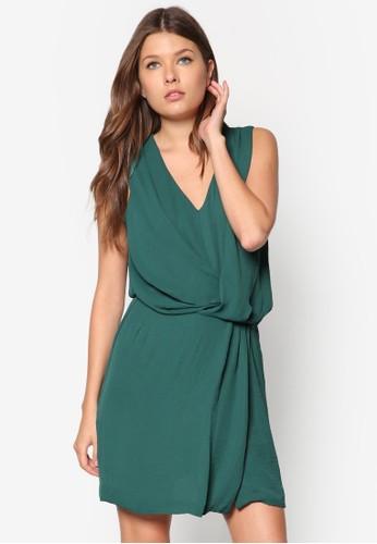 垂褶V 領zalora 包包評價連身裙, 服飾, 洋裝